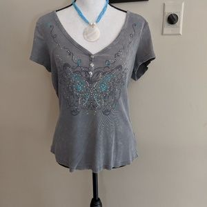 Embellished Butterfly Top